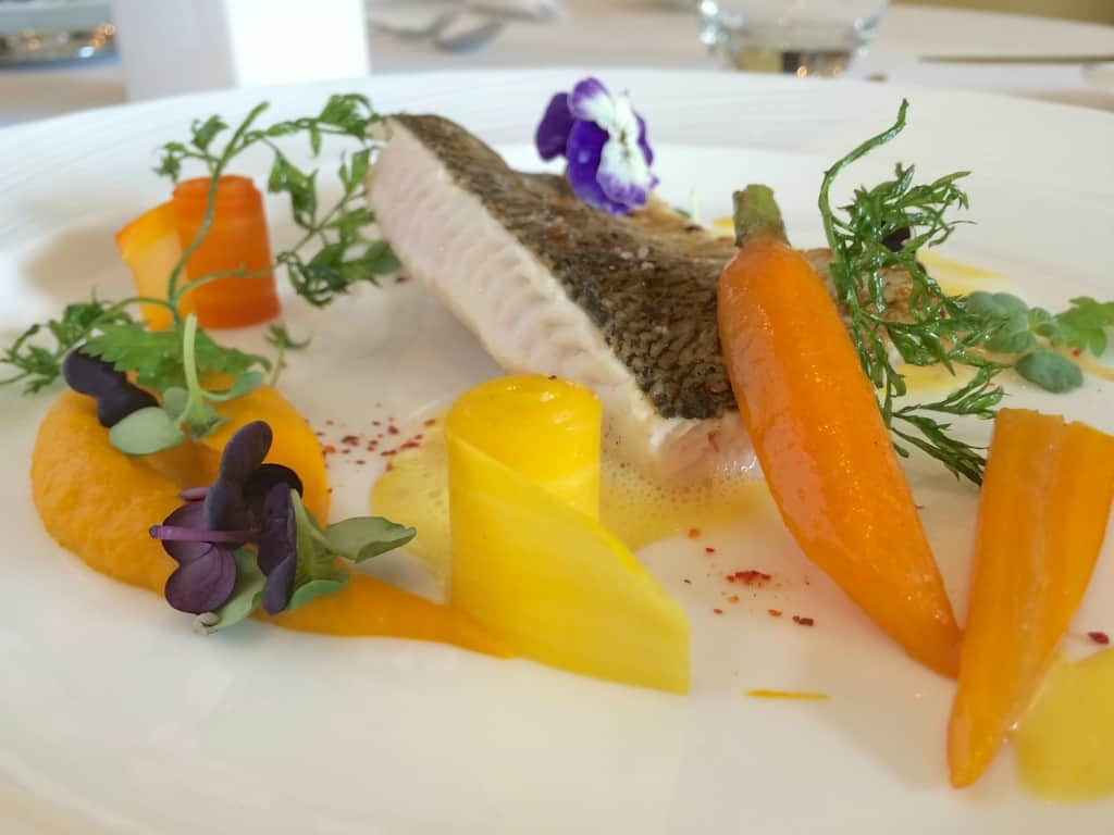 Fera fish beautifully plated by Chef Bedouet at Le Duo restaurant at the Hotel Royal in Geneva