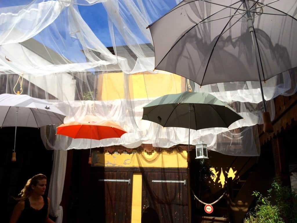 umbrellas at Cafe du Marche in Carouge