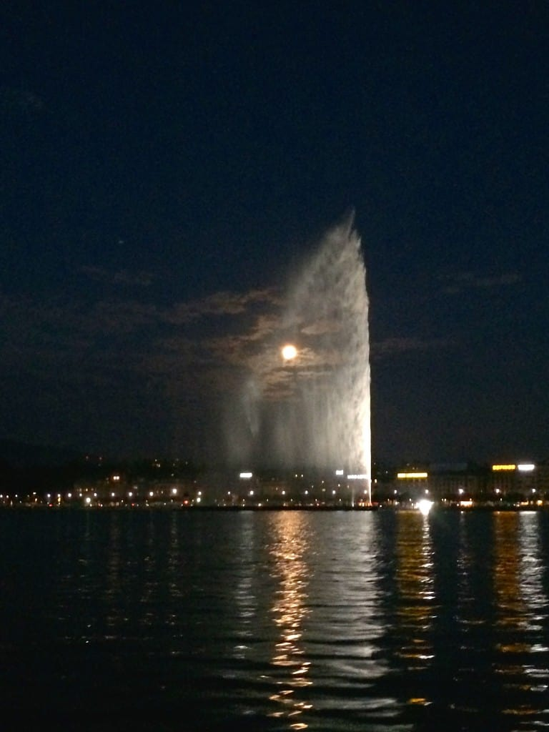 Water Jet with Full Moon