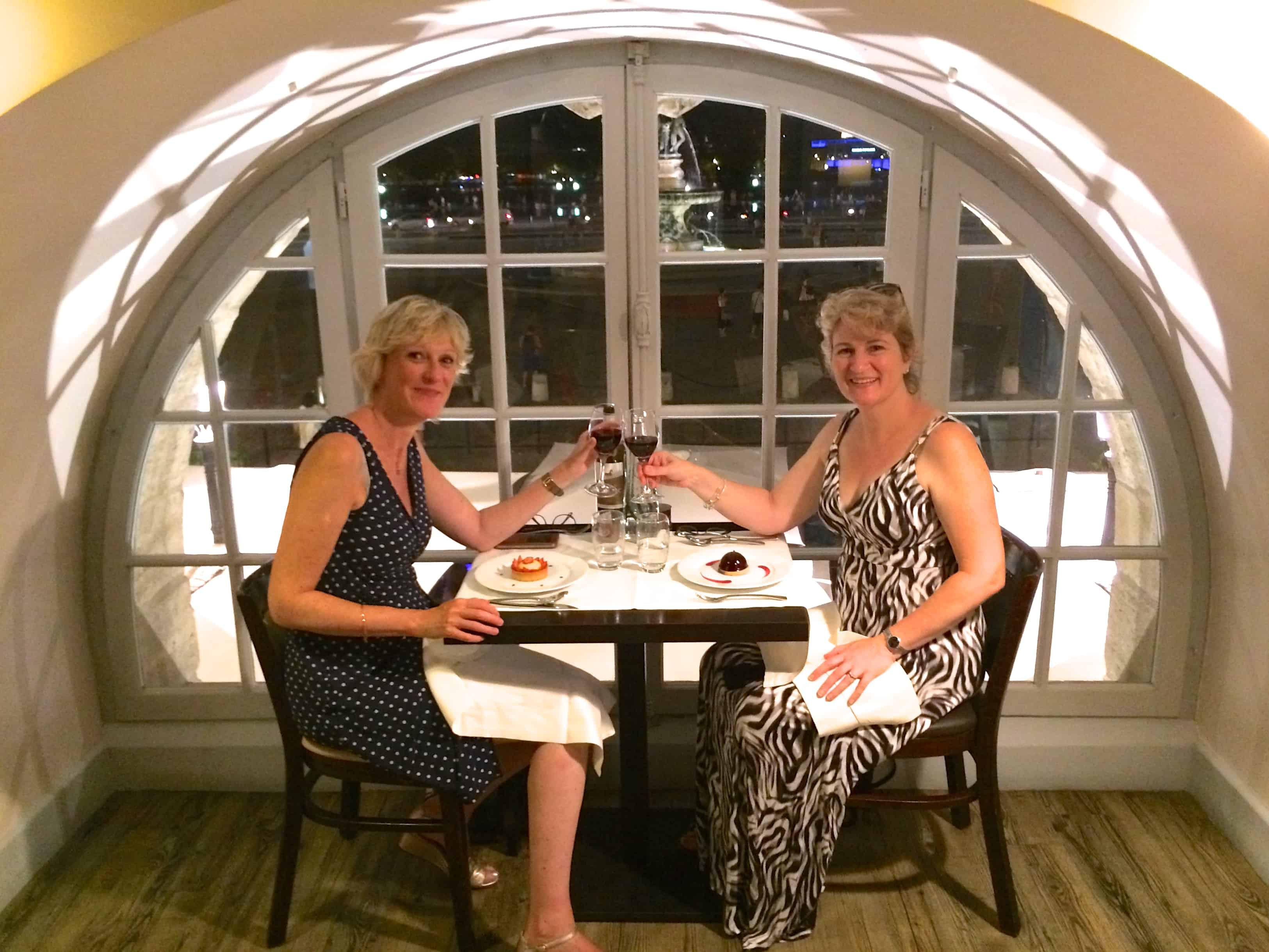 Jill Colonna and Christina Conte at a restaurant in Bordeaux