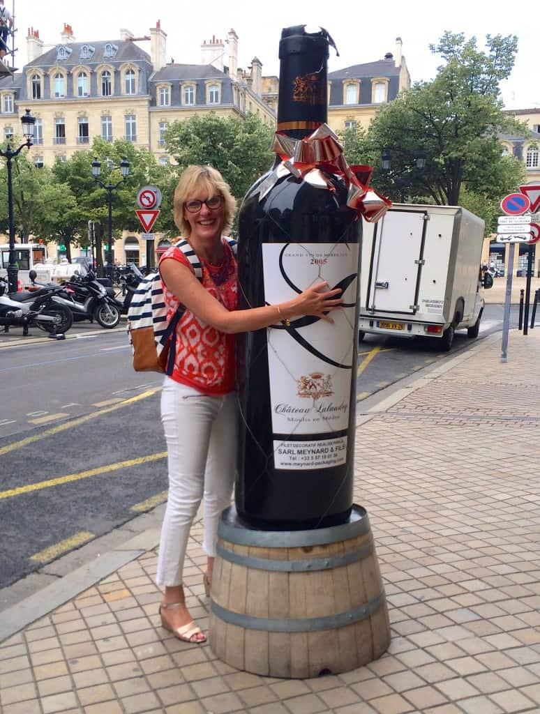 Jill with wine bottle