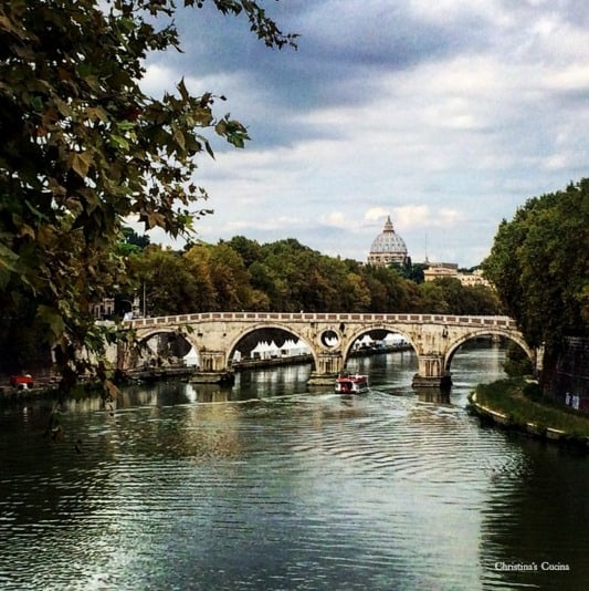 St Peter's Basilica and the Tiber River