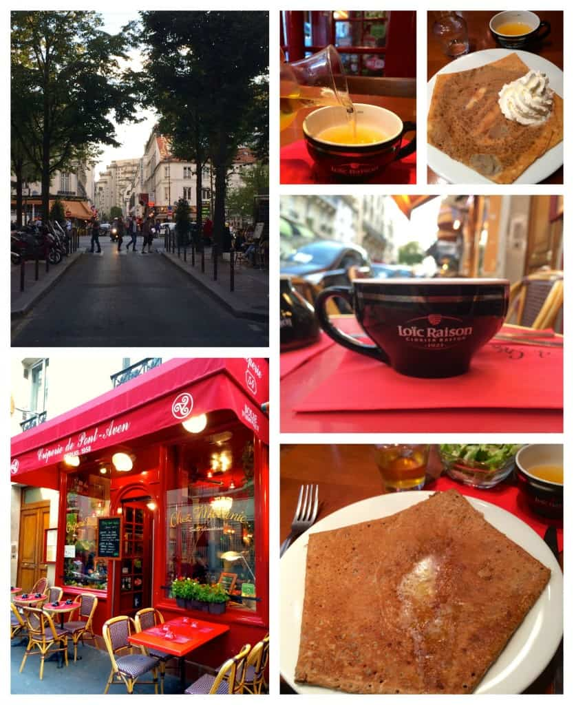 Montparnasse creperie, crepes and cider.