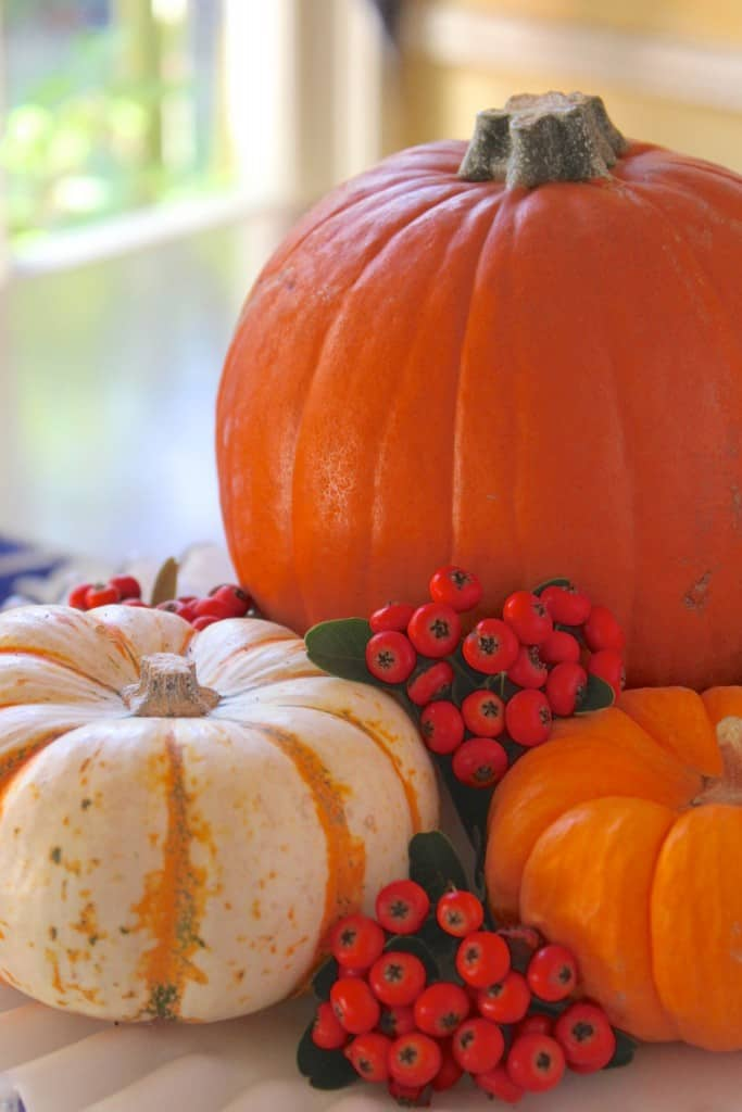 pretty table centerpiece for fall with pumpkins