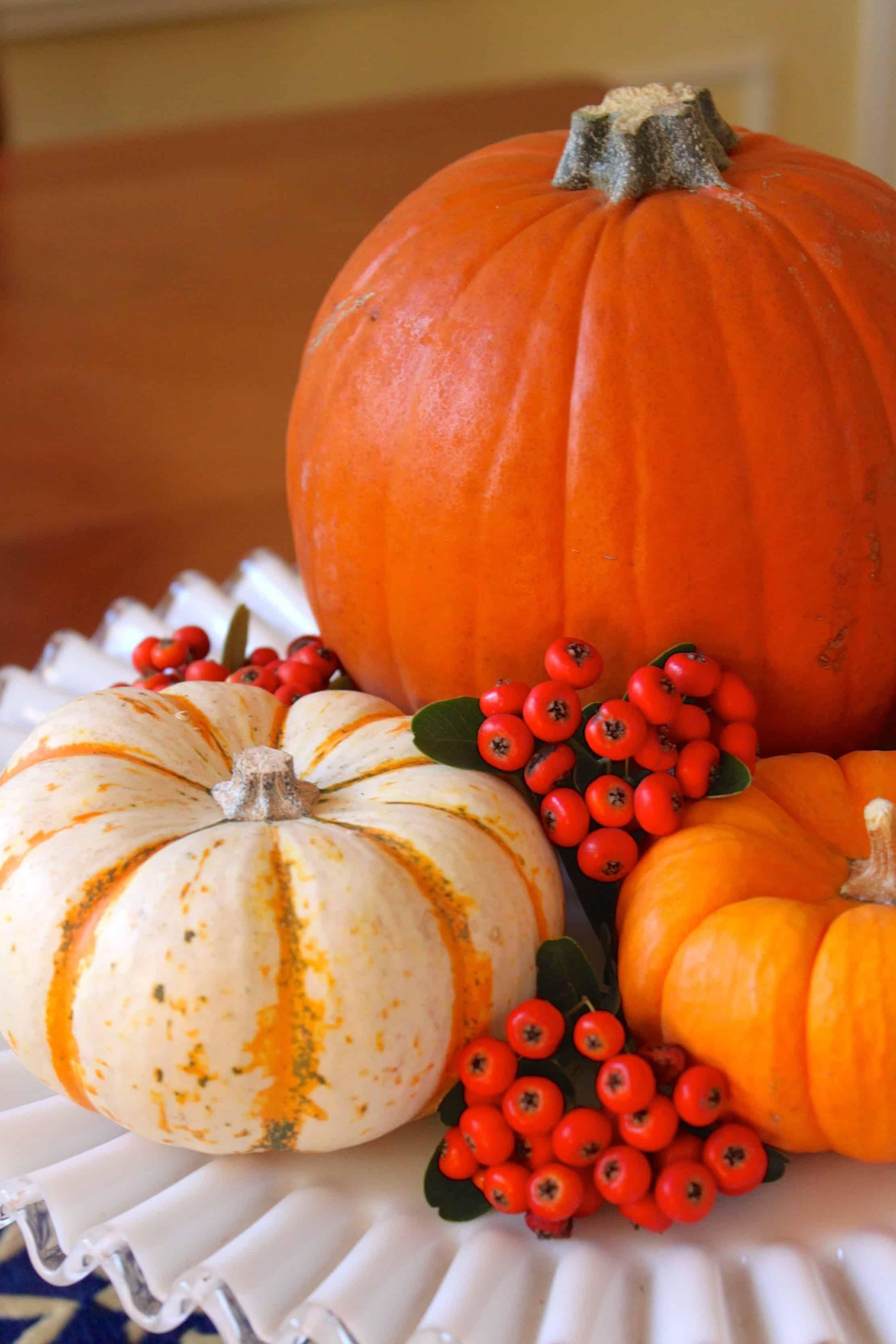 Pretty fall decorative centerpiece with pumpkin