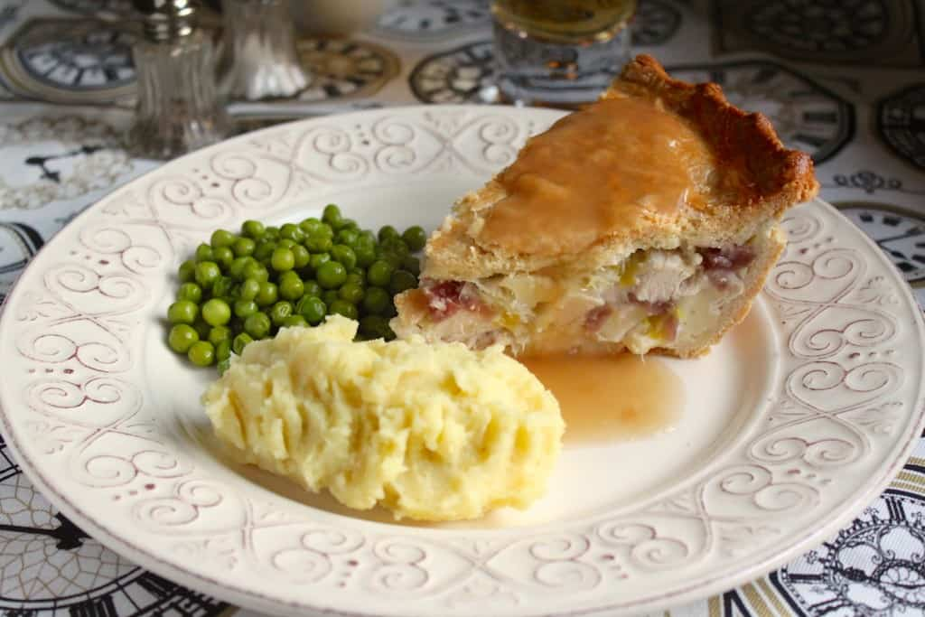 A slice of Chicken, Brie and Cranberry Pie