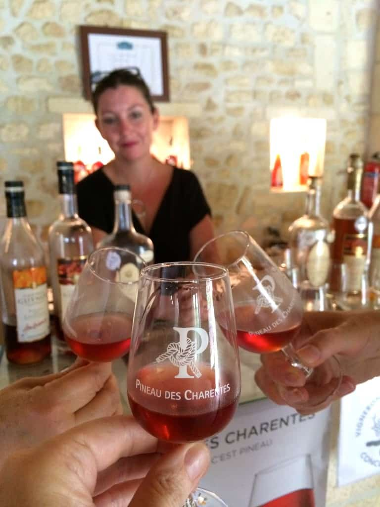 Toasting with Pineau at Chateau Guynot