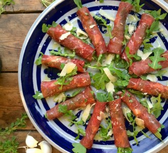 Cooking Lessons in SW France, Pineau Tasting, and a Simple Bresaola, Parmesan and Arugula Appetizer