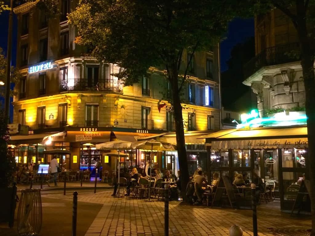 Montparnasse area of Paris at Night