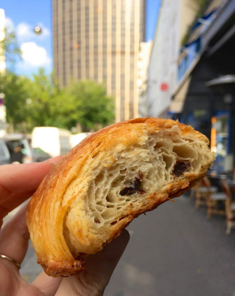 Chocolate croissant in front of the Montparnasse Tower