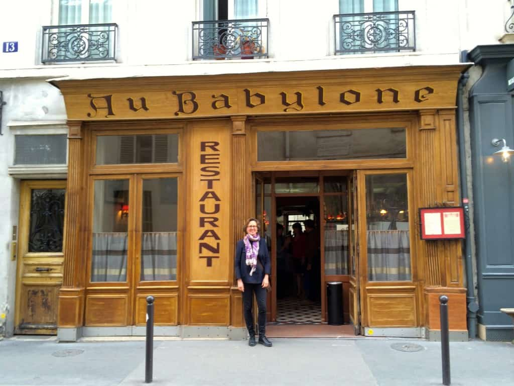 Mary in front of Au Babylone in Paris