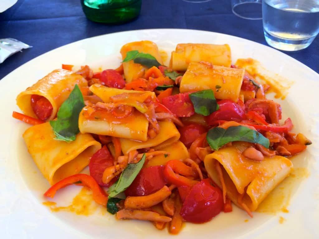 Paccheri with seafood