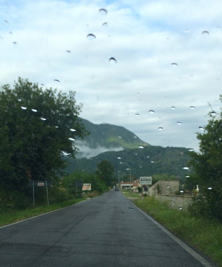 Driving to Cassino after the rain