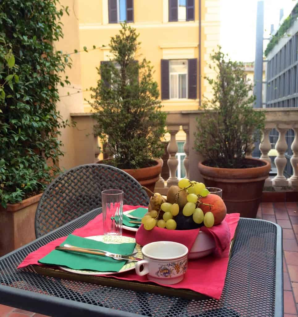 private terrace at Hotel Columbia in Rome