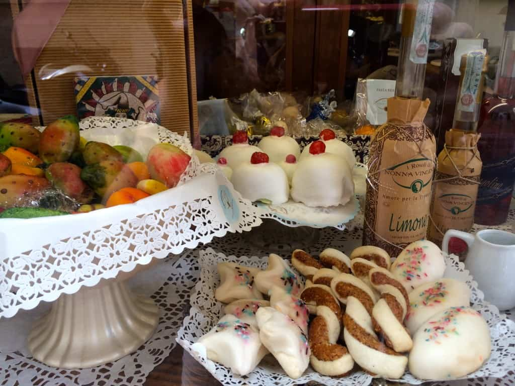Sicilian treats in a window in Rome