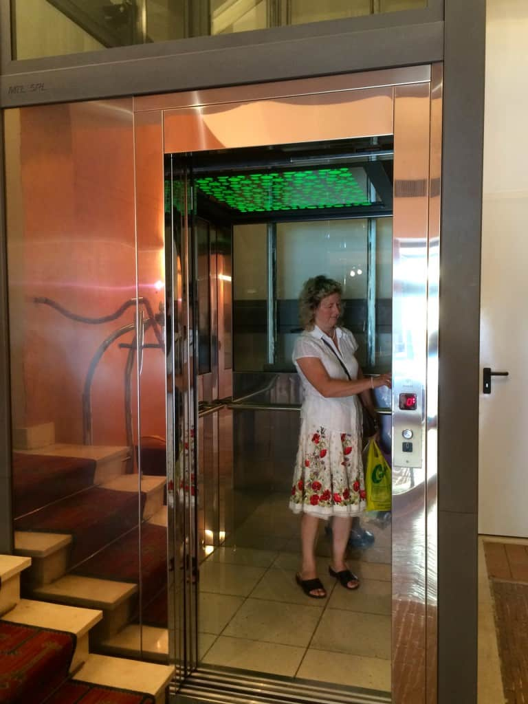 Glass elevator in Hotel Columbia