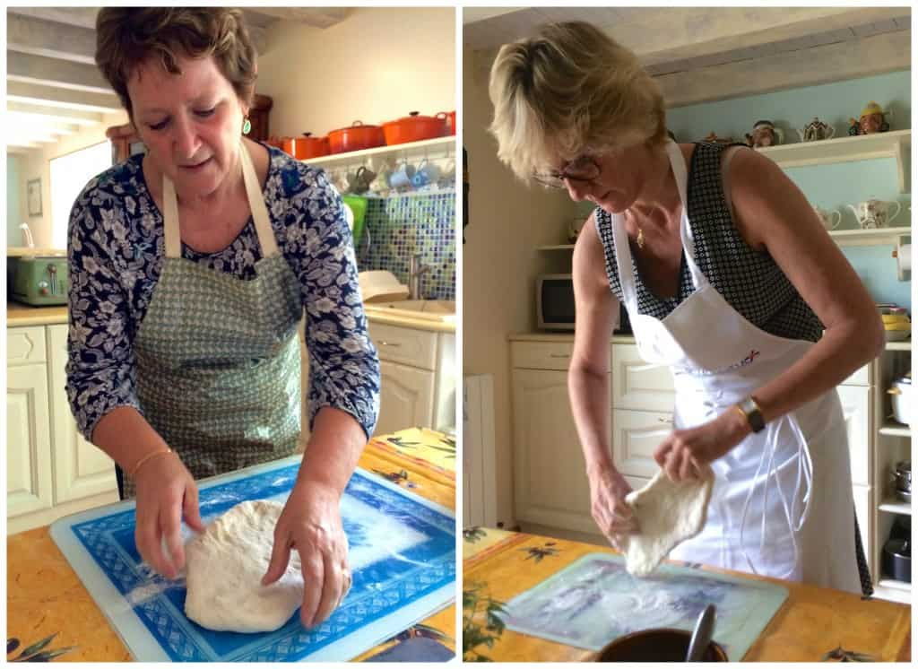 Karen and Jill making fougasse