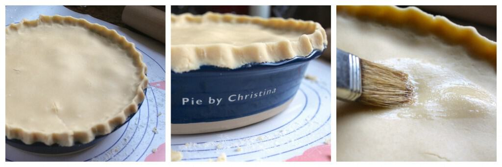Finishing a chicken, brie and cranberry pie