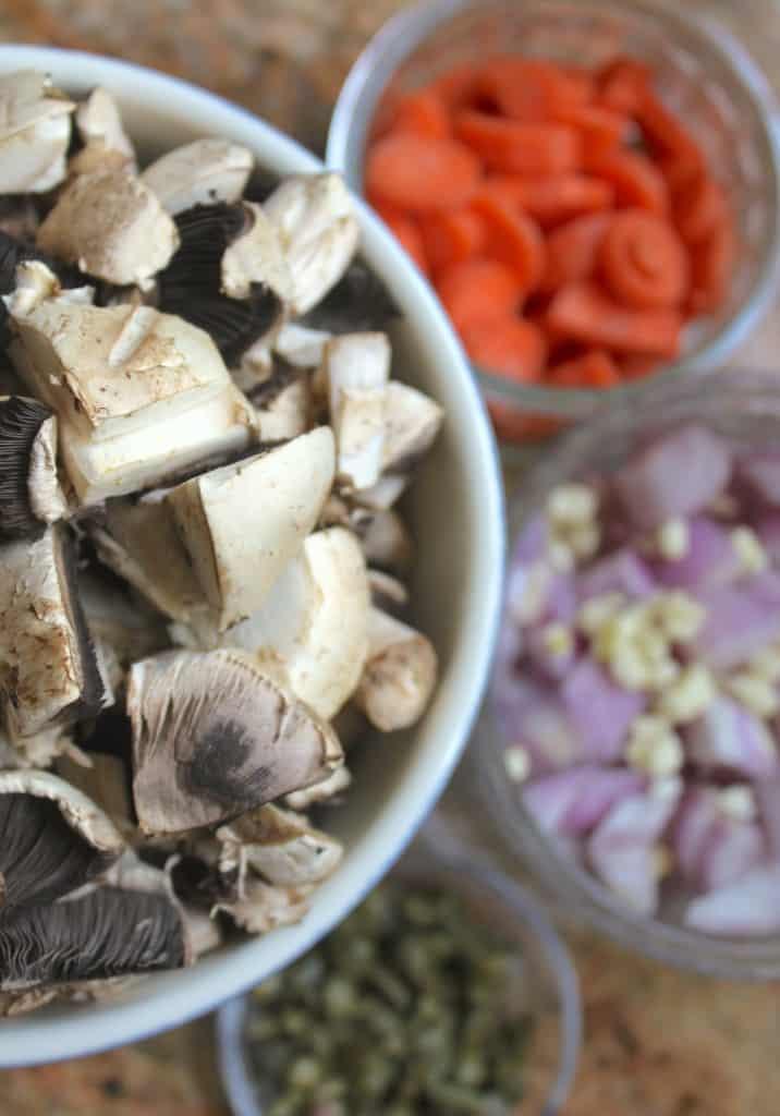 Prepping for mushroom pate