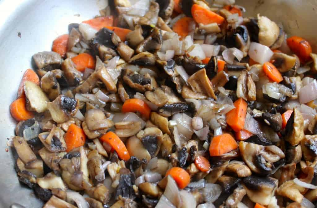 Sauteed mushrooms and veg for pate.