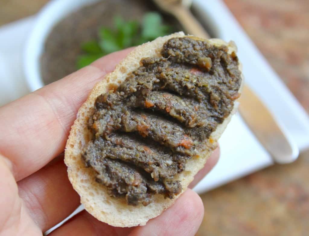 Mushroom Pate on a baguette slice.