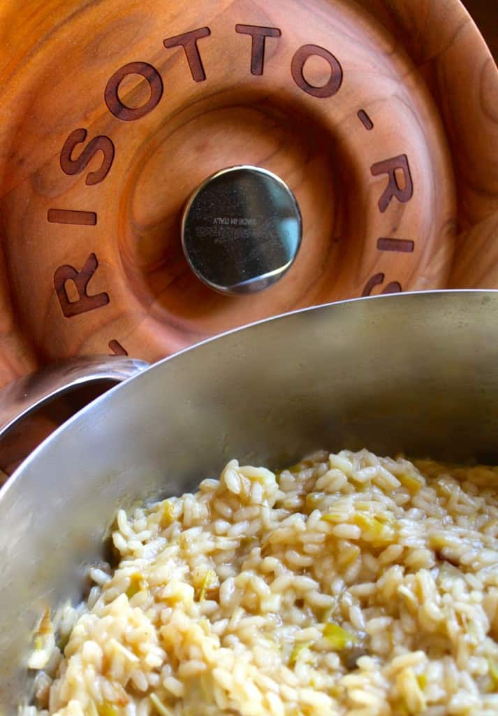 Lagostina risotto pot lid and trivet with Leek Risotto by Christina's Cucina