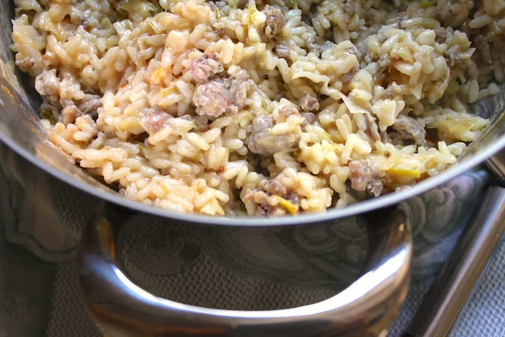 Lagostina risotto pot with leek and sausage risotto.