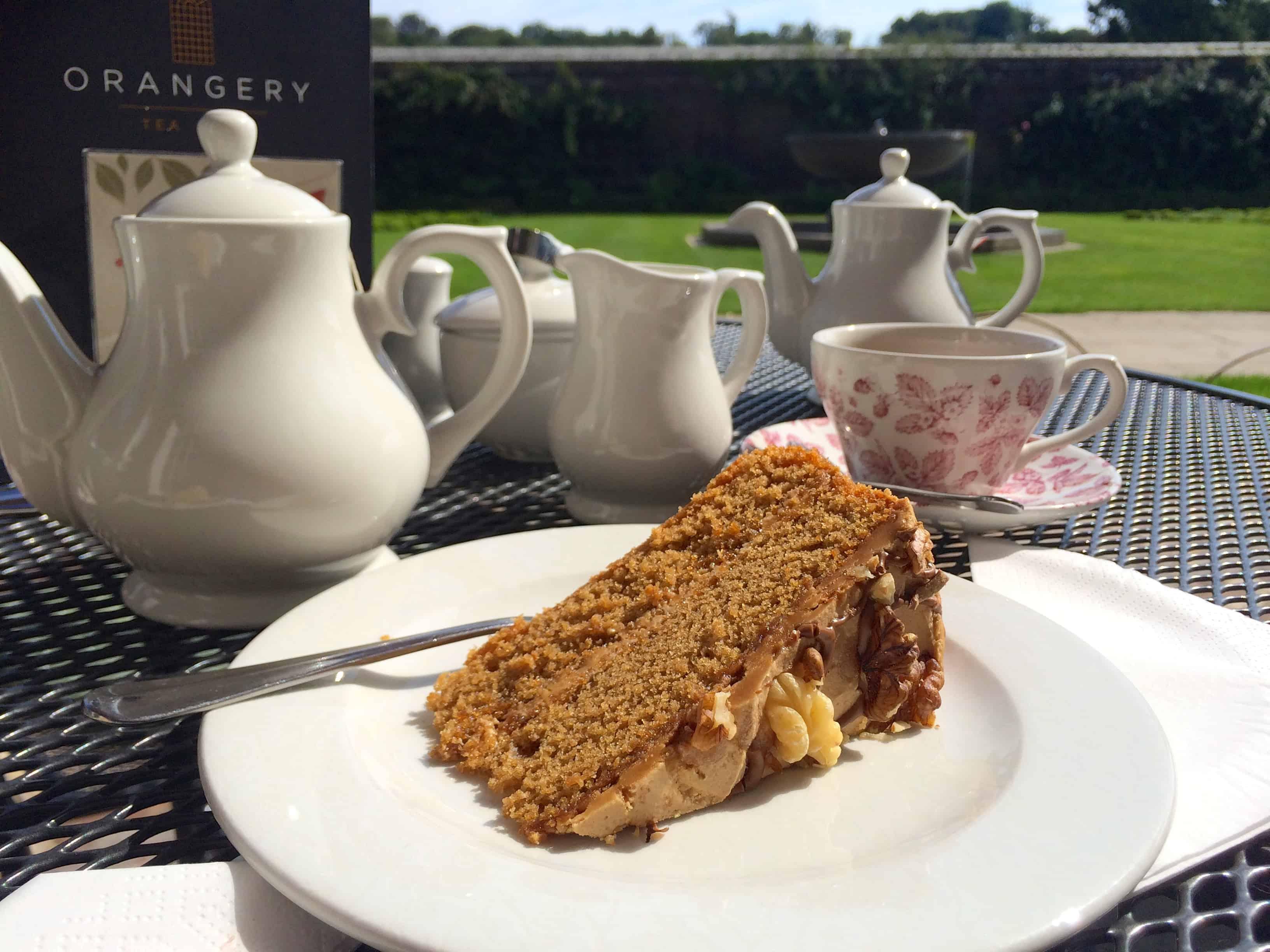 Coffee and Walnut Cake at the Orangery Tea Room