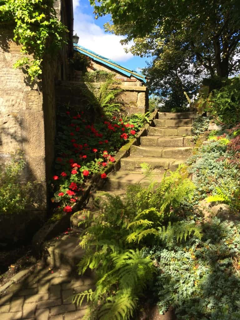 Steps in the gardens at Pollok House, Glasgow, Scotland