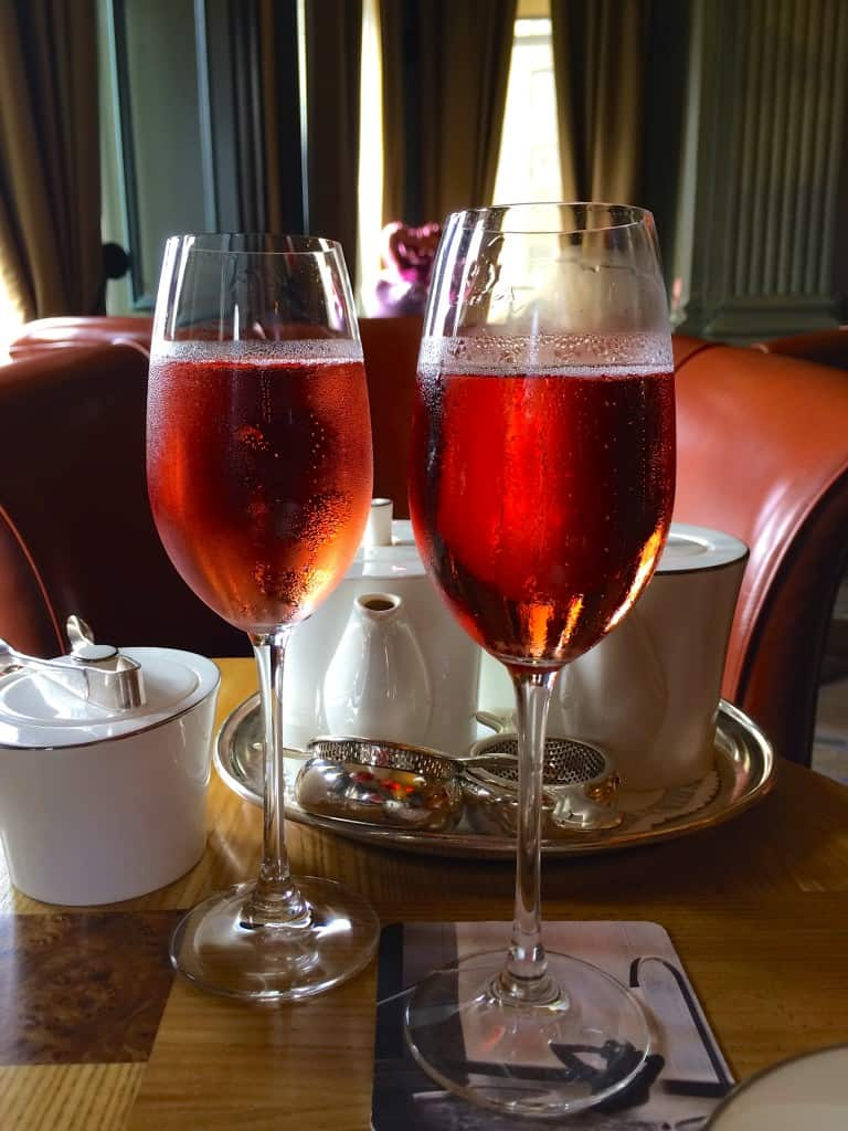 Ruinart rosé champagne for afternoon tea at Gleneagles Hotel