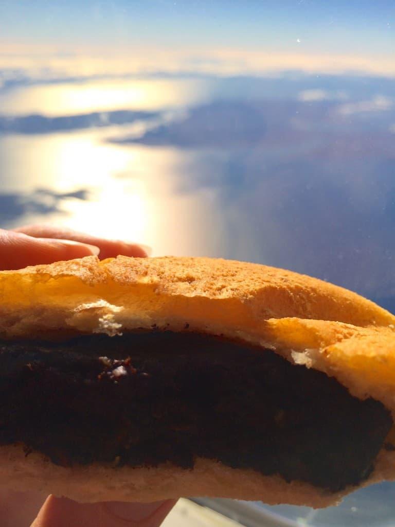 Black pudding buttie over Scotland