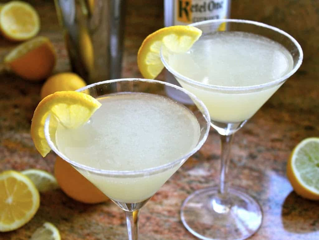 Two lemon drop martinis