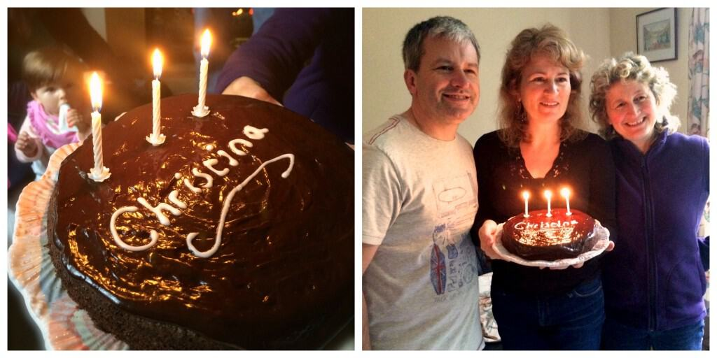chocolate birthday cake and cousins