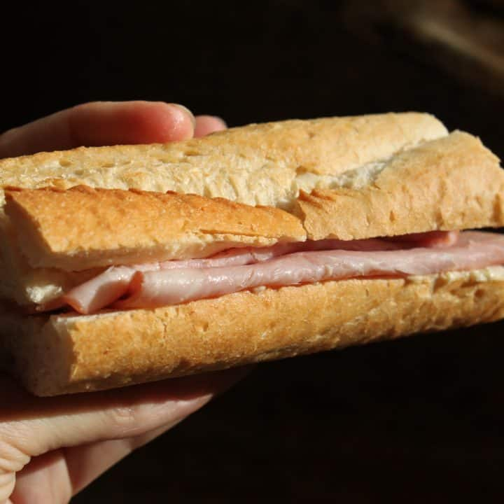 baguette with ham and butter