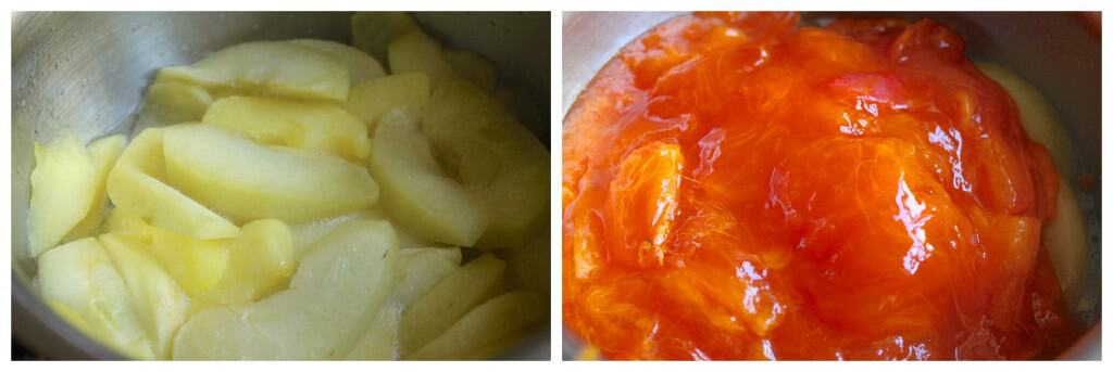 steamed apples and persimmons