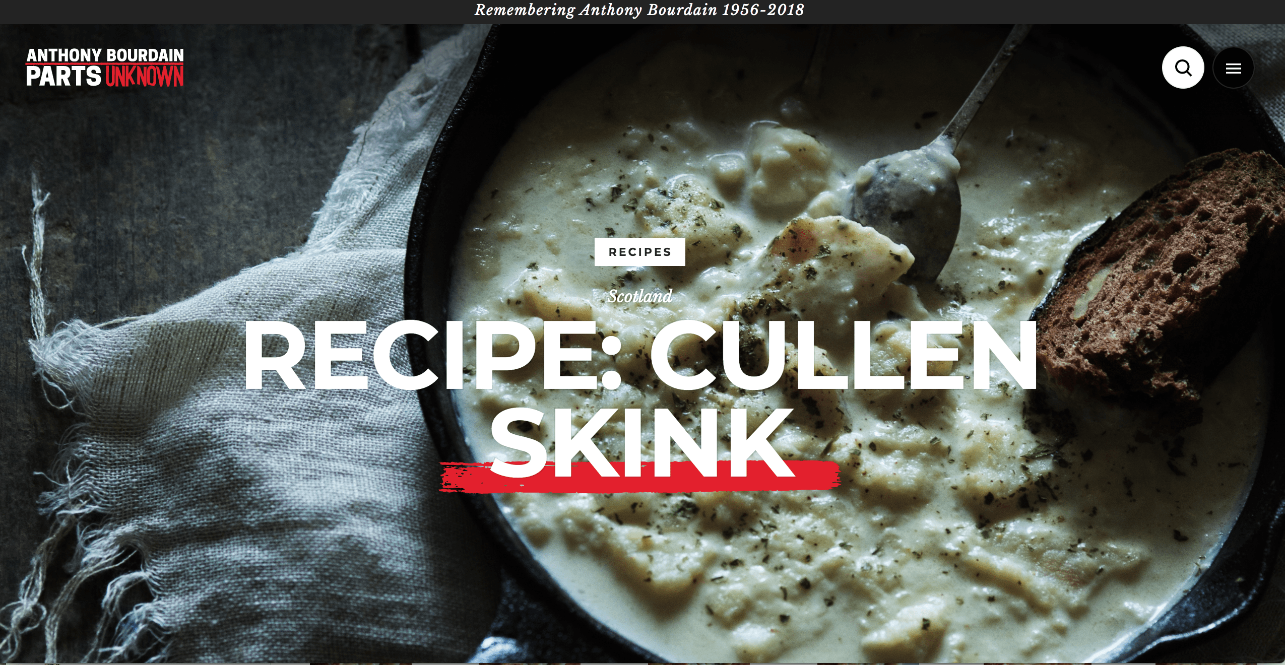 Parts Unknown cullen skink recipe page