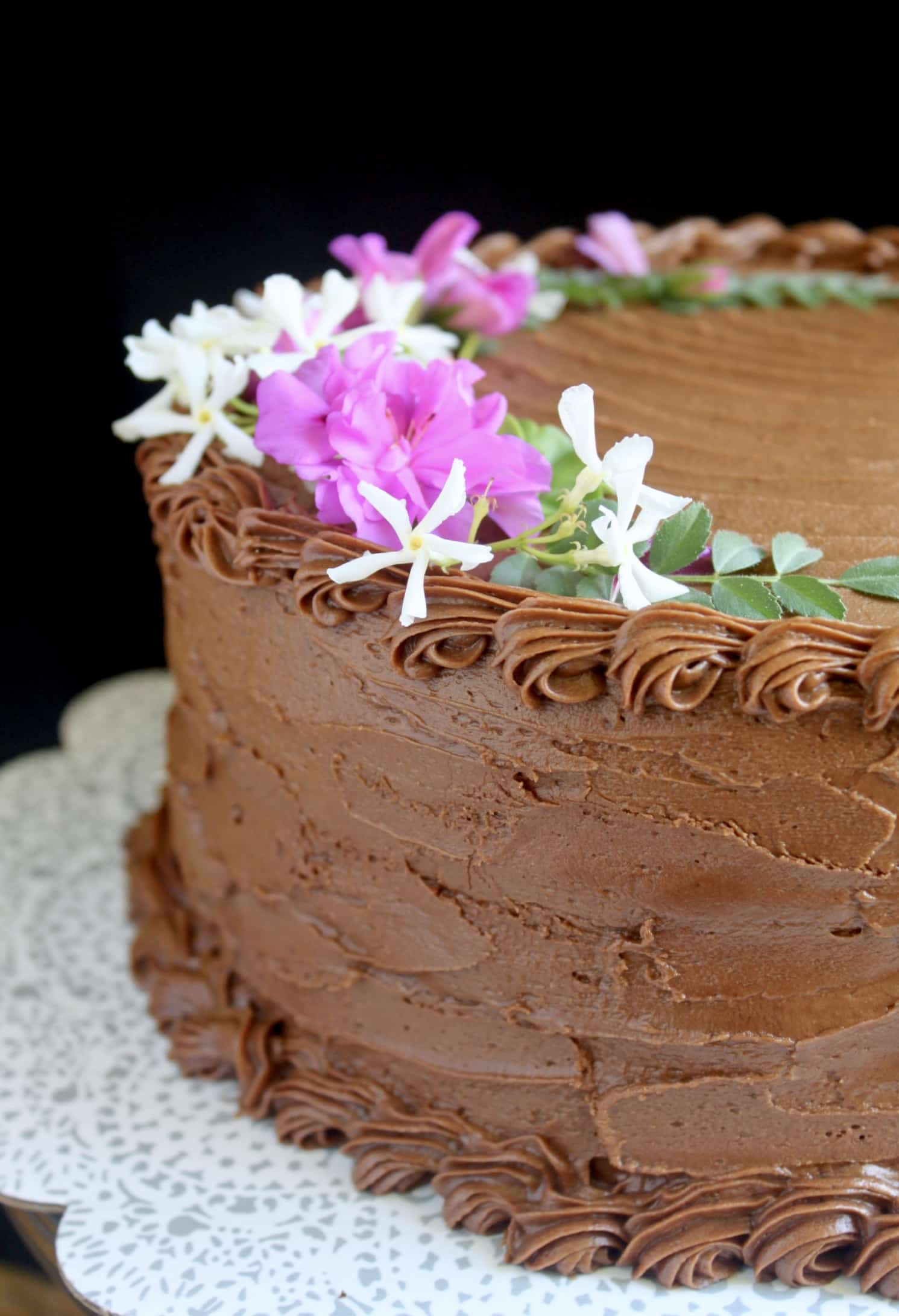 Moist Chocolate Cake recipe with edible flowers