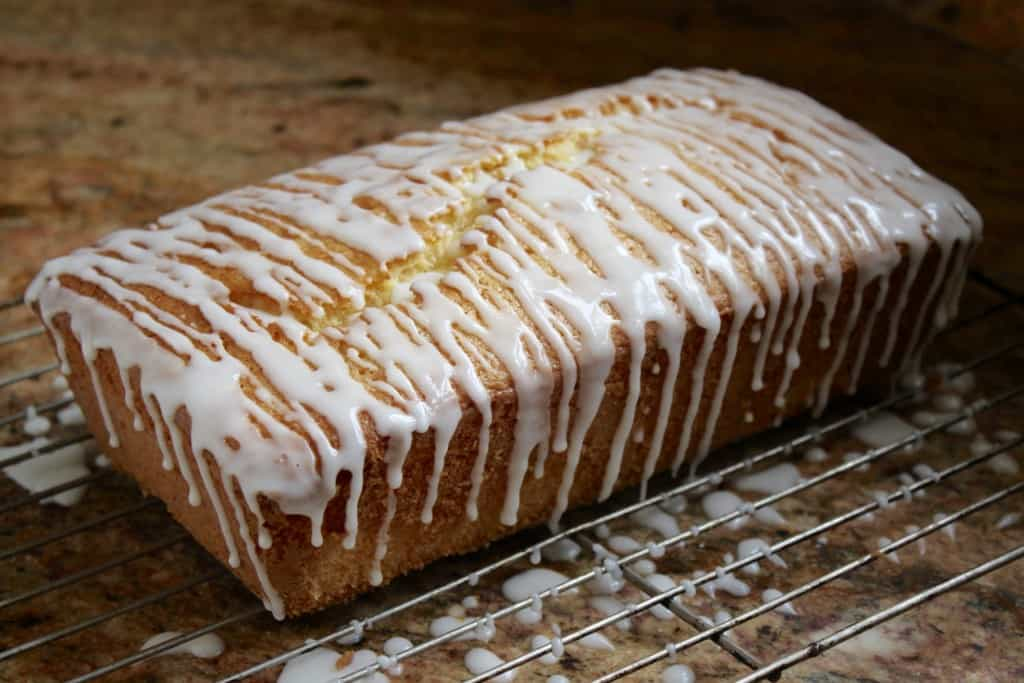 Glazed gluten-free loaf cake.