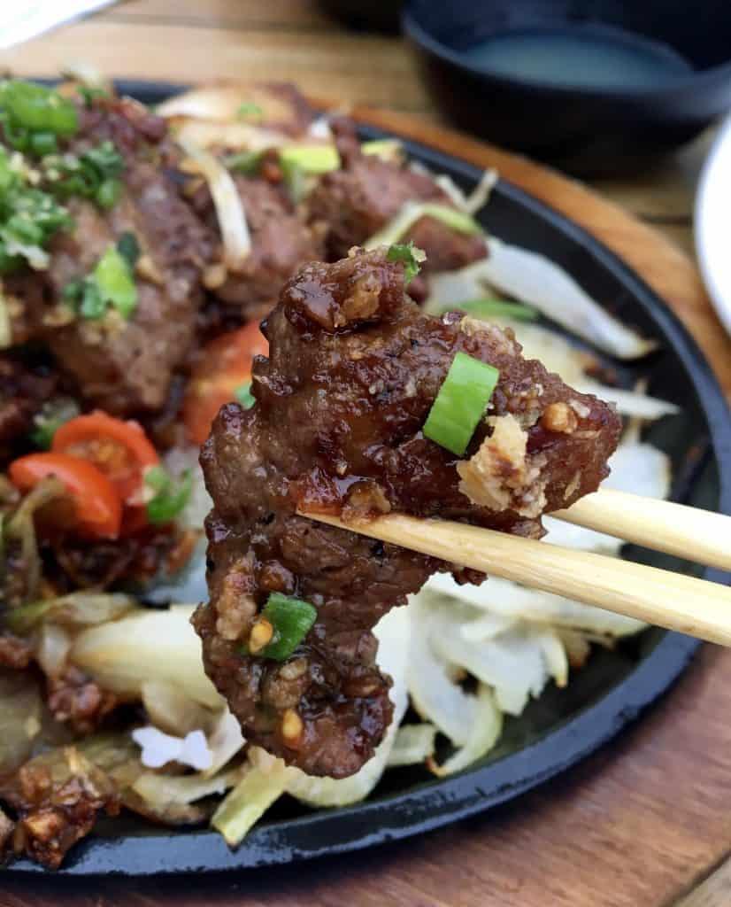 sizzling shaking beef at Bashi