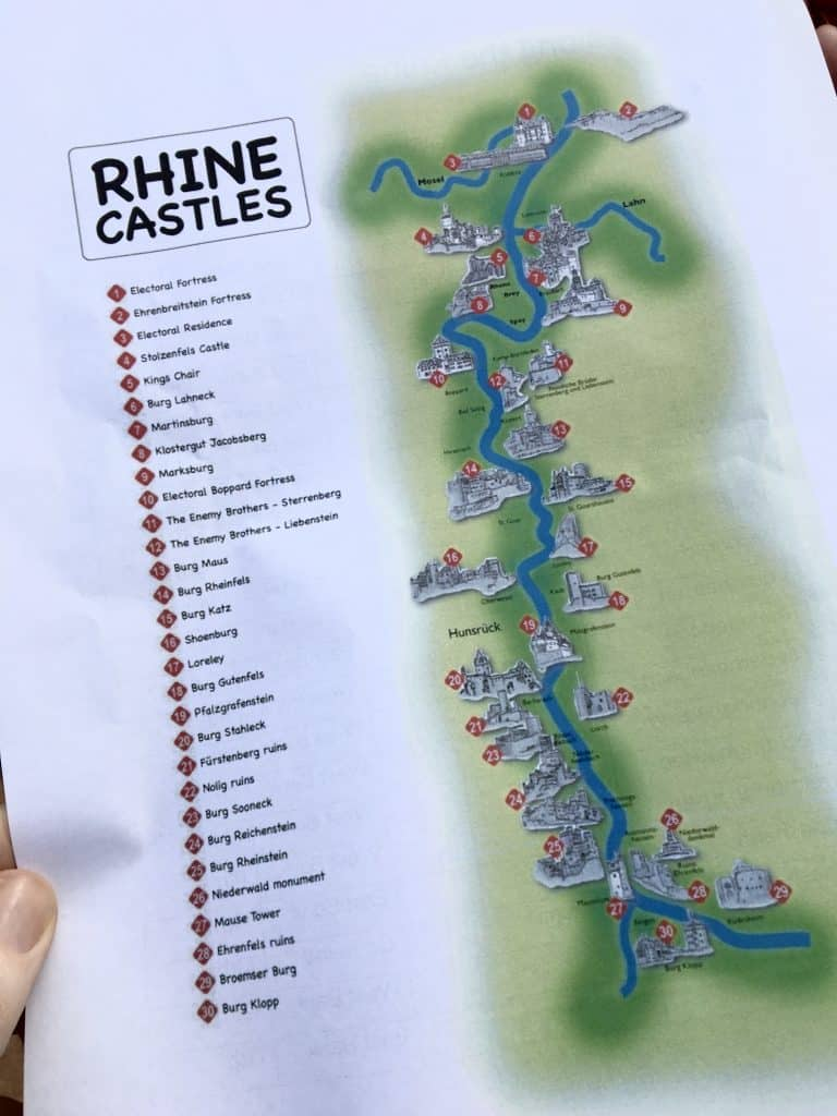 Map of the Castles in the UNESCO World Heritage Rhine Gorge
