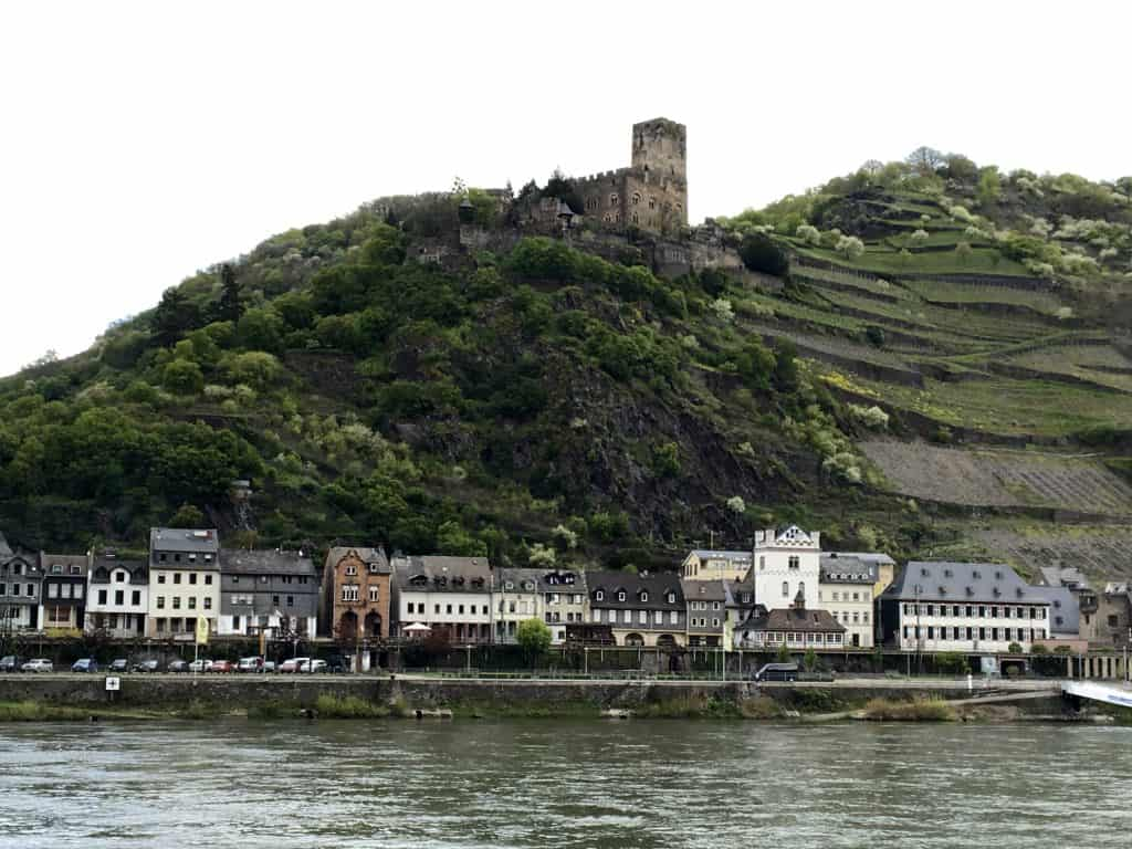 Old hotel and vineyards in Oberwesel, Germany