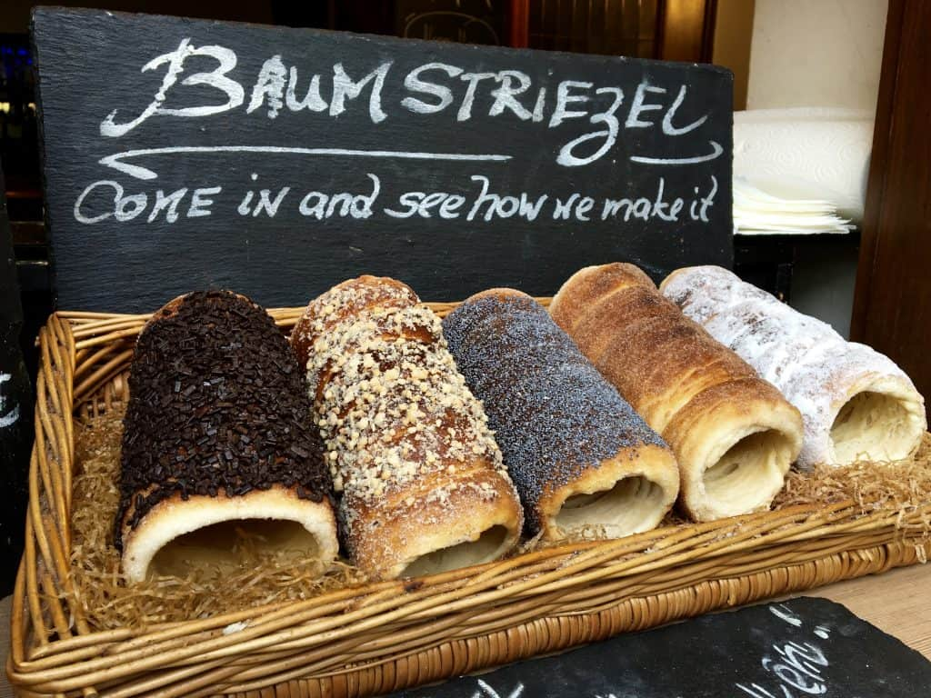 Baumstriezel, or chimney cake in Rüdesheim, Germany