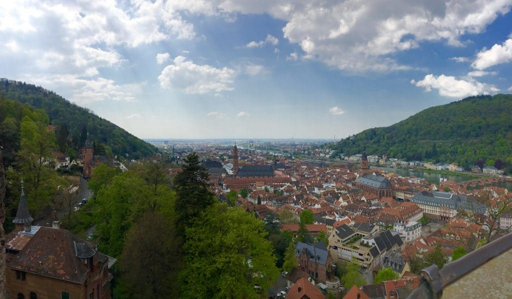 View of Heidelberg and the Neckar River from the castle.