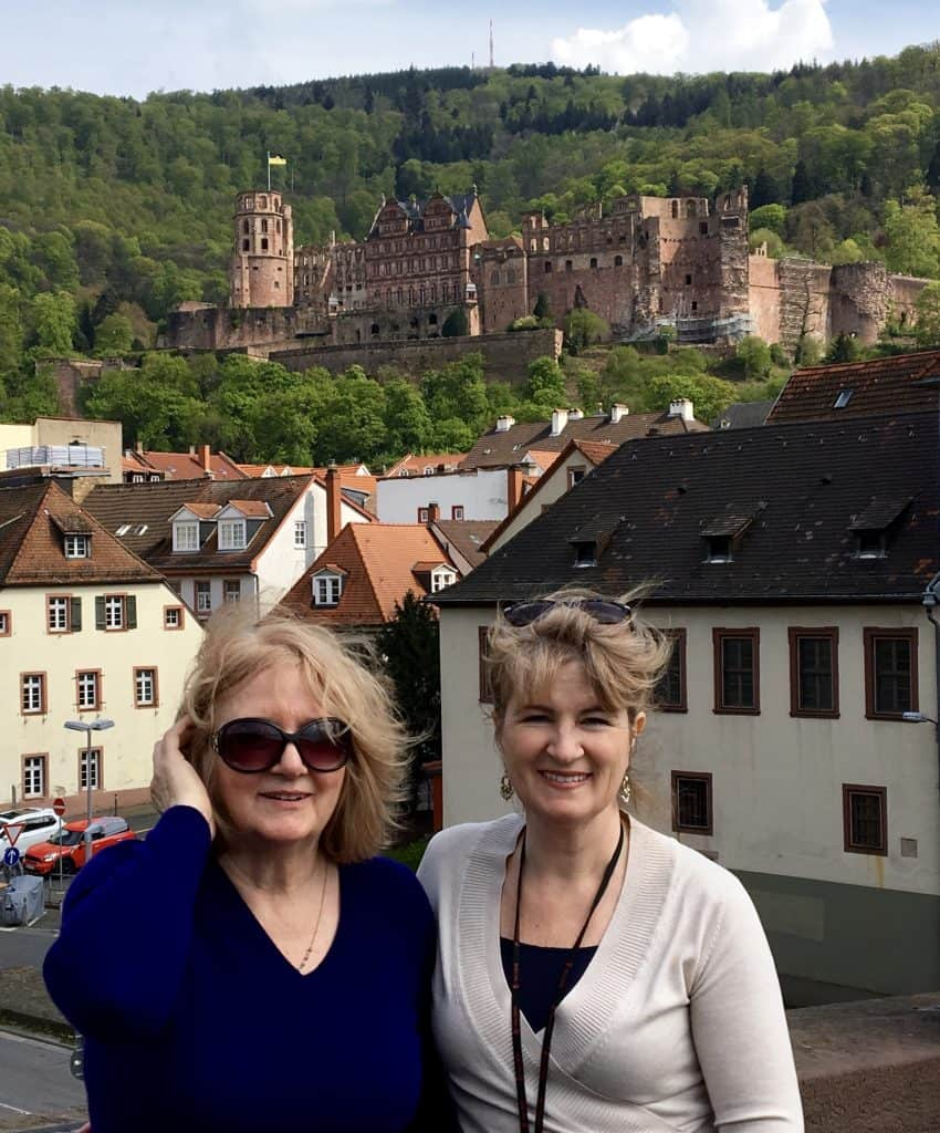 My mother and me on the old bridge with the castle as a backdrop.