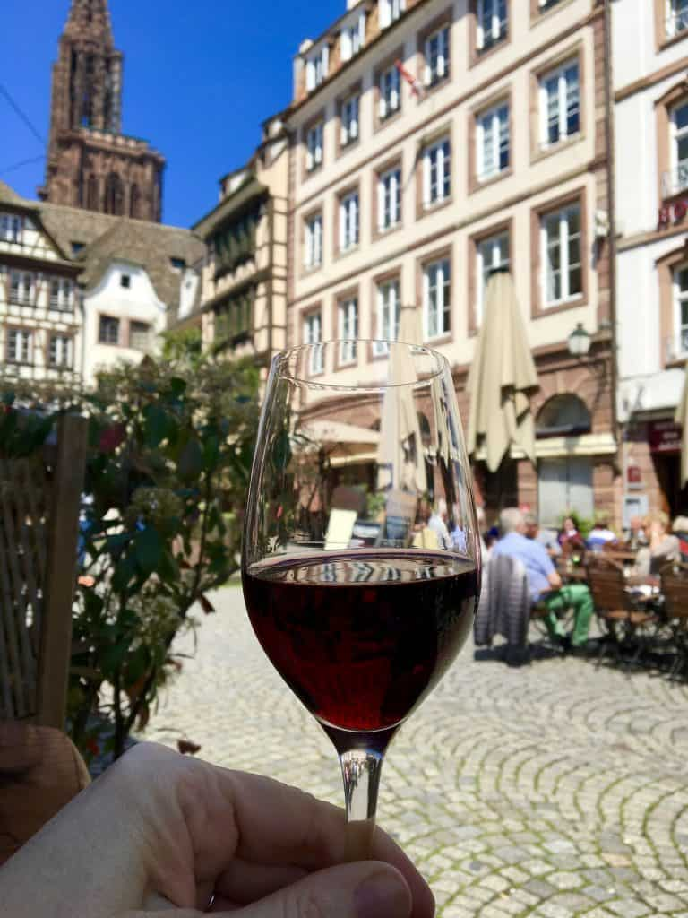 A wine lunch in Strasbourg, France.