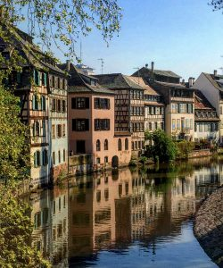 Strasbourg houses on a canal with AmaWaterways excursion