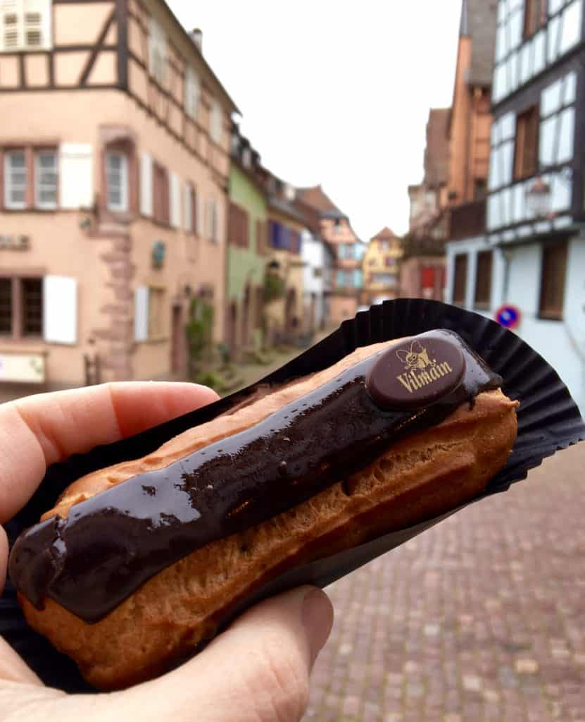 A chocolate eclair in Riquewihr, France