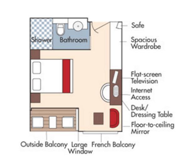 Stateroom floorplan for the Amacerto
