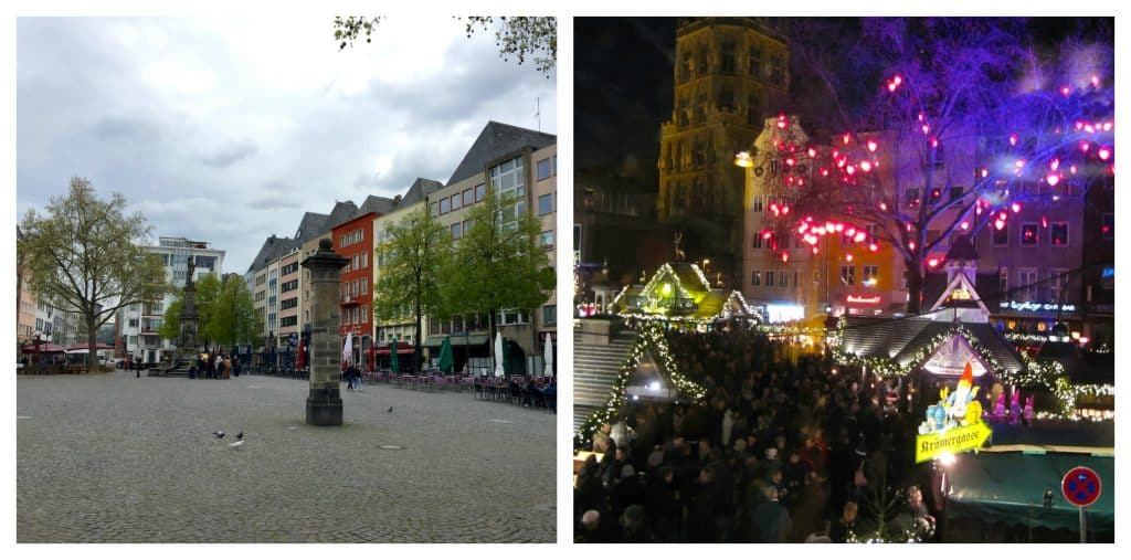 Square in Cologne with and without Christmas Markets