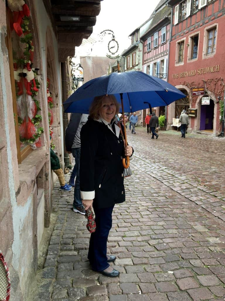 Rainy day in Riquewihr, France.